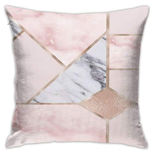 N/Q 45X45cm Throw Pillowcase,Geometric Mix and Match Charming Rose Gold Square Outdoor Pillowcase Sofa Cover Decorative Cushion Cover, Soft, Used for Car Bed Living Room
