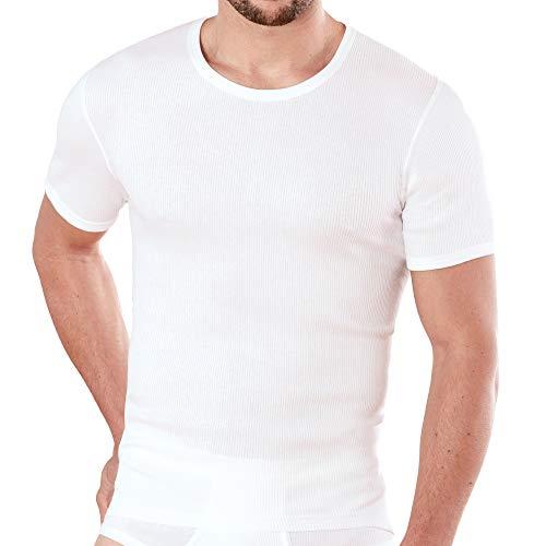 Ammann 2er Pack Herren Unterhemden mit 1/2 Arm, Doppelripp, weiß (L / (6))