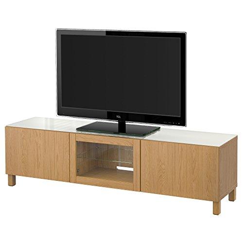 IKEA BESTA - Mueble TV con puertas de roble efecto Lappviken