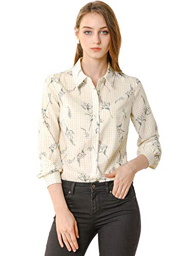 Allegra K Women's Floral Dots Blouse Tie Neck Casual Office Shirt Large White