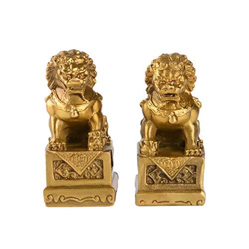 2.8in(H) Fengshui Brass Pair of Fu Foo Dogs Guardian Lion Statues Housewarming Congratulatory to Ward Off Evil Energy ZD099