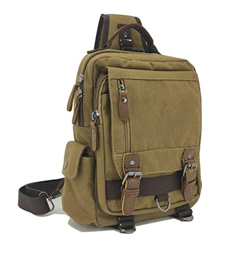 Sechunk Canvas Canvas Messenger Bag Sling Bag Cross Body Bag Shoulder Bag Small Army Green