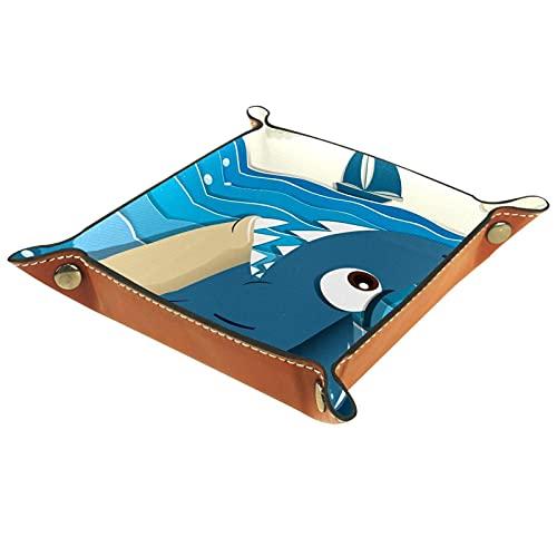 Bandeja de cuero organizador bandeja de almacenamiento bandeja de joyería bandeja de accesorios para carteras, relojes, llaves, teléfonos celulares y equipo de oficina Sea Shark Boat