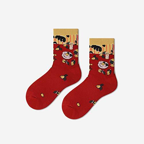 Calcetines Divertidos Para Mujer,3 Pares,Crazy Novelty Funky Socks,Estampado De Pintura De Limón,Informal,Elegante,Peinado,Pareja,Algodón,Equipo De Oficina,Calcetines De Vestir,Diseño Único Llamat