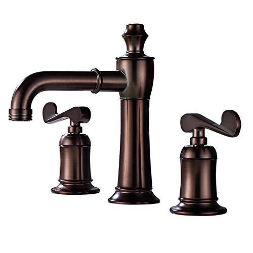 grifos de cocina fregadero grifo lavabo grifo osmosis fregadero Todo el cobre ORB rojo marrón grifo de tres piezas lavabo del baño doble manija solo orificio grifo de agua fría y caliente