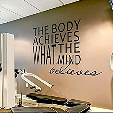Wall Decal Decor Gym Wall Decal Sports Quotes - The Body Achieves What The Mind Believes - Motivational Quotes Sports Wall Sticker(Black, 50 h x58 w)
