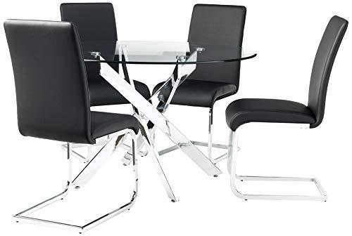 Best Master Furniture Mirage 5 Pcs Glass Top Modern Dining Set, Black