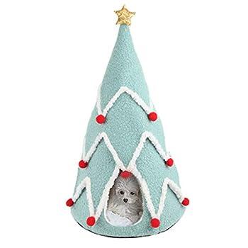 Maisons et dômes YCDJCS Cat Hole Caves de Noël Arbre Petit Chien Chat Nid Hiver Chaud Chat Tapis Facile à Nettoyer Pet Supplies (Color : Green, Size : 45x70cm)