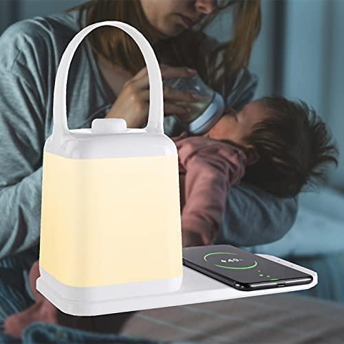 Lámparas de noche Luz de noche para dormitorio LED con cargador inalámbrico, Lámpara de mesa con función de protección ocular, Portátil inteligente, USB recargable Regulable