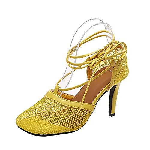 URINGO Stilettos Altos sexys entrecruzados con Tiras para Mujer con Sandalia con Lazo en el Tobillo, Sandalias de tacón para Fiesta, el tacón Mide 6 cm (2,4 Pulgadas)