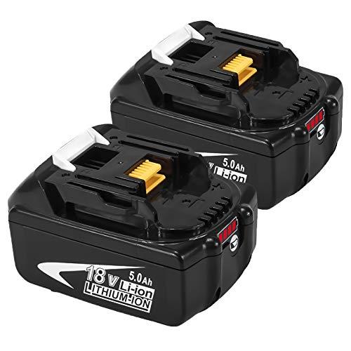 Gatopower 2X Batería de repuesto para Makita 18V 5.0Ah BL1860 BL1850B BL1830 BL1820 con indicador LED