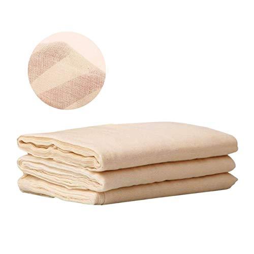 Tessuto di mussola di cotone di grado 90, garza di cotone non sbiancato per filtrare frutta, burro, vino, salse, fare formaggio, confezione da 3, (91 cm × 182 cm ciascuno)