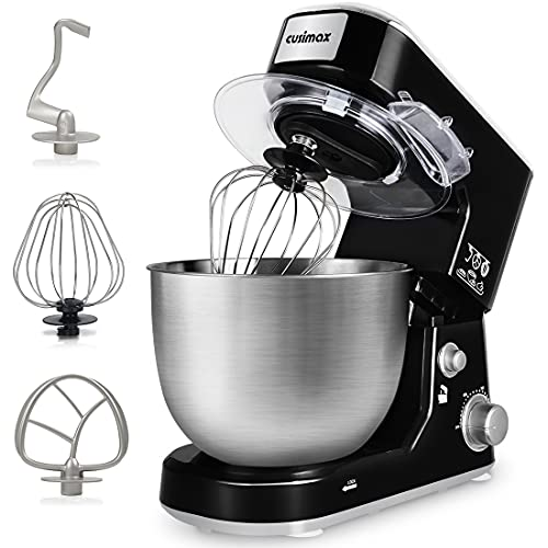 Stand Mixer, CUSIMAX Dough Mixer Tilt-Head Electric Mixer with 5-Quart Stainless Steel Bowl, Dough Hook, Mixing Beater and Whisk, Splash Guard(Upgraded-Dishwasher Safe Attachment)