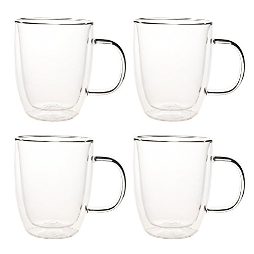 Set of 4 Double Walled Glass Coffee Mugs - Double Walled Coffee Cups, Espresso Cups, Drinking Glasses for Tea - 16 Ounces