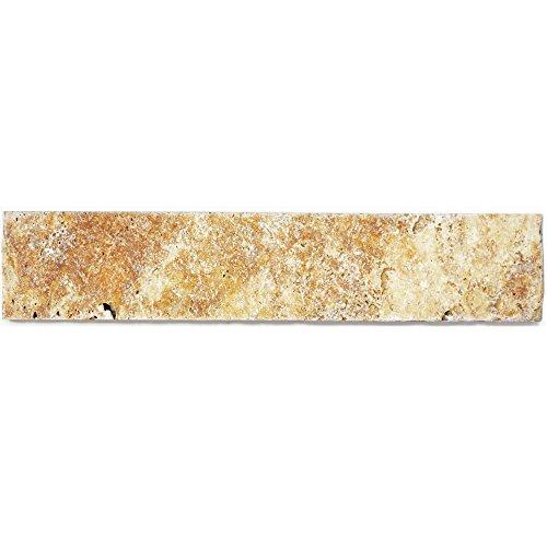 Sockelleiste Travertin Natursteinfliesen Castello Gold | Wandverkleidung Badfliesen Bad Mosaikstein