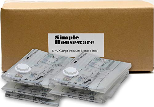 5 Pack - Extra Large Vacuum Storage Bags to Space Saver for Bedding, Pillows,...
