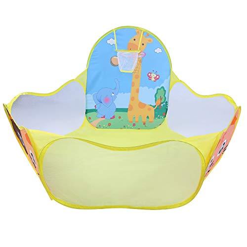 WOUPY Kids Ball Pit, casetta per Bambini Traspirante con canestro da Basket per parchi per Cortile per Esterni e Interni(Cervo Giallo)