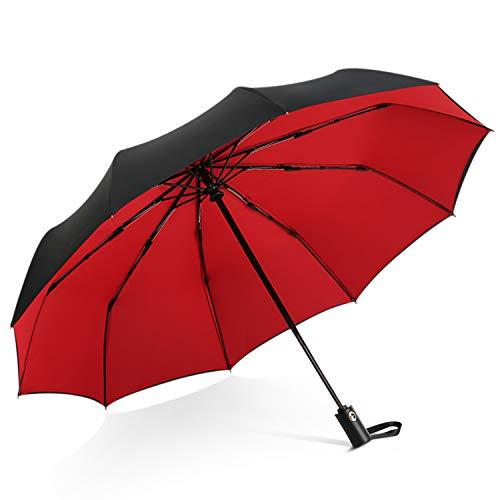 DORRISO Mode Herren Damen Automatik Regenschirm Windsicher Leicht Stabiler Regenschutz Dauerhafte Verstärkte Sonnenschirm Taschenschirm Reise Regenschirm Rot