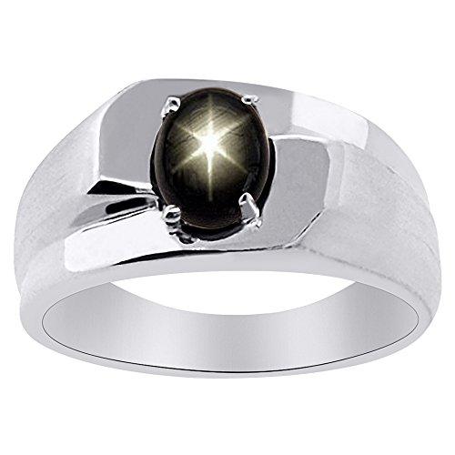 Plata esterlina Anillo Solitario Negro Star Sapphire o 14K oro amarillo chapado en plata