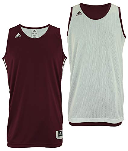 Adidas Mens Reversible Basketball Practice Jersey L Maroon/White