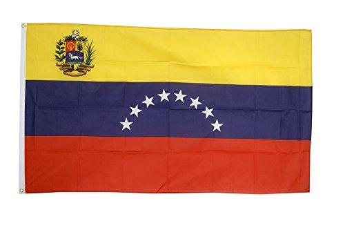 Flaggenfritze Fahne/Flagge Venezuela 8 Sterne mit Wappen + gratis Sticker