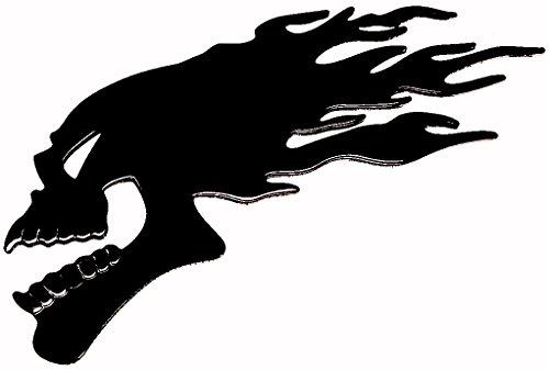 PRESKIN – 3D Totenkopf Flamme Schwarz Hochglanz Aufkleber Selbstklebende Metall-Optik Sticker Decal für Auto, KFZ, Motorrad, Roller, Notebook, Haustür, Kühlschrank …