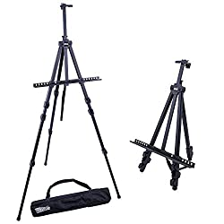U.S. Art Supply 72 Sturdy Black Aluminum Tripod Artist Field and Display Easel Stand - Adjustable Height 25 to 6 Feet, Holds 52 Canvas - Floor and Tabletop Displaying, Painting - Portable Bag