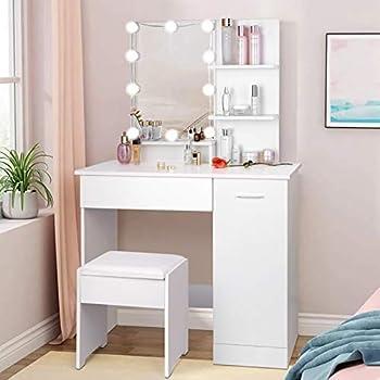 amzdeal Makeup Vanity Table Set with Lights Vanity Desk with 3ColorLightingModes Adjustable Brightness 1 Large Drawer & 1 StorageCabinet DressingTable for Girls Women,White