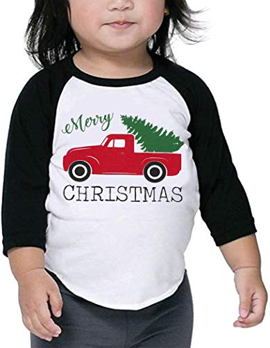 Baby Girl Boy Merry Christmas T-Shirt Cute Red Truck Tree Print Shirt Long Sleeve Tee Top
