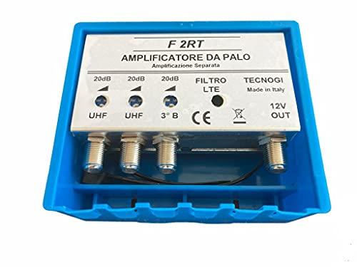 Vsnetwork Amplificador antena TV de mástil con filtro Lte/4G, ganancia máxima 20 dB ajustable, amplificador antena TV 2 entradas UHF + 1 Vhf, bandas separadas