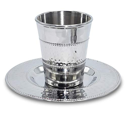 Ner Mitzvah Kiddush Cup and Tray - Premium Quality Stainless Steel Wine Cup - For Shabbat and Havdalah - Judaica Shabbos and Holiday Gift