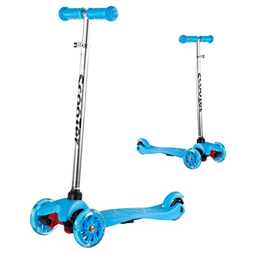 SHENEN Scooter for Kids, 3 Wheel Kick Scooter for Toddlers with Led Flashing PU Wheels, for Boys and Girls(Blue)