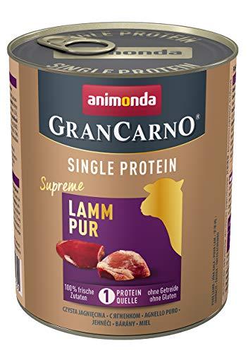 animonda Gran Carno adult Single Protein Hundefutter, Nassfutter für ausgewachsene Hunde, Lamm pur, 6 x 800 g, 6er Pack (6 x 0.8 kilograms)
