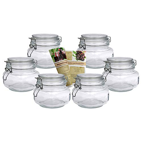 gouveo Bügel vasos incl. 28 de seitige Botella Discount de recetas folleto mermelada con cierre de clip, 6 unidades, 500 ml Flach