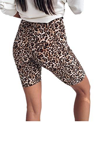 Fliegend Damen High Waist Leggings Leopard Sport Shorts Kurze Yoga Hose Jogginghose Frauen Push Up Leggins Laufen Fitness Gym Workout Shorts M