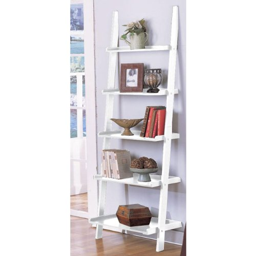eHomeProducts White 5-Tier Leaning Ladder Book Shelf