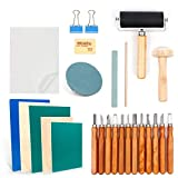 Rubber Stamp Making Kit, Block Printing Starter Tool Kit, Linoleum Cutter with 12 Types Blades, Tracing Paper, Rubber Carving Block, Brayer Roller for Craft Stamp Carving
