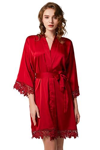 O.AMBW Mujeres Sexy Kimono Bata de baño Satén Vestido de Noche Ropa de casa Encaje Floral Lencería íntima Camisón Ropa de Dormir Robe De Noche Albornoz Boda Novias Dama Honor Pijamas de Seda