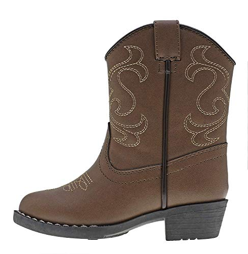 Canyon Trails Kids' Lil Cowboy Pointed Toe Classic Western Boots (Toddler/Little Kid (2 US Little Kid, Brown)