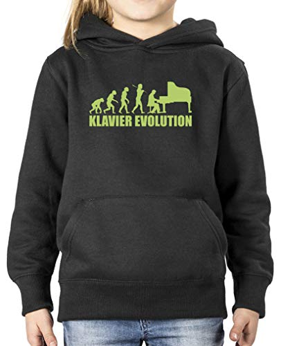 Comedy Shirts - Klavier Evolution - Mädchen Hoodie - Schwarz/Grün Gr. 98/104