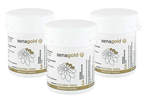 Senagold Schüßler zout Nr.3 - Ferrum phosphoricum D12 tabletten - glutenvrij 3x400 St.