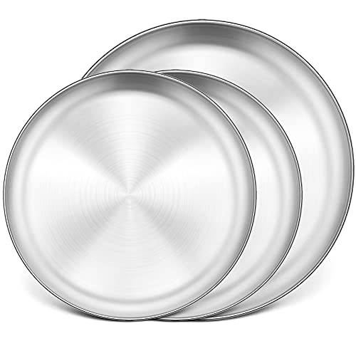 P&P CHEF 3 Pcs Pizza Pans Set, (2x12''& 13.5'') Stainless Steel Pizza Pan Tray, Round Pizza Dish Plate For Oven Baking, Non Toxic & Heavy Duty, Brushed Finish & Easy Clean