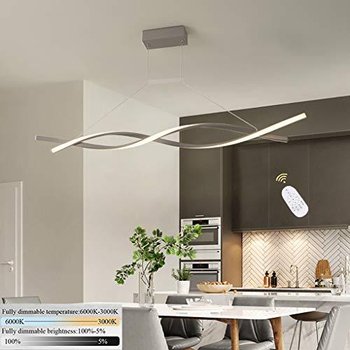 LED hanglamp verlengbaar eettafel licht hanglamp eetkamer dimbaar lamp hanglamp curve acryl verstelbaar voor keuken woonkamer bar kantoor verlichting met afstandsbediening 32W