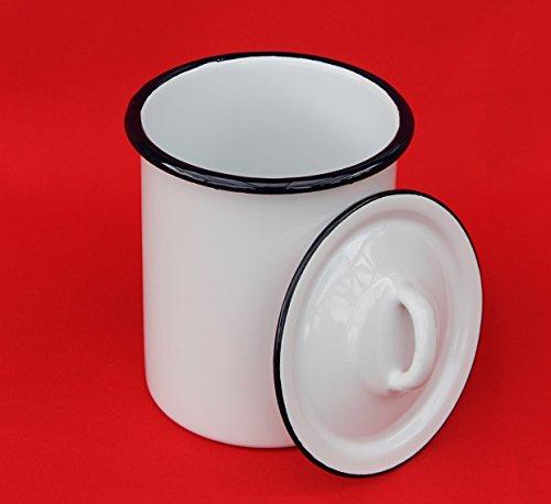 DanDiBo Aufbewahrungsdose 665Z Weiß Dose 19 cm emailliert Behälter Landhaus Mehlbüchse Emaille