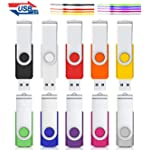 32GB Flash Drive, Cardfuss 10 Pack USB Flash Drive Mixed Color, USB 2.0 Flash Drive Data Storage Swivel Thumb Drives with Lanyards, Fold Storage USB Drives (32GB, 10 Colors)
