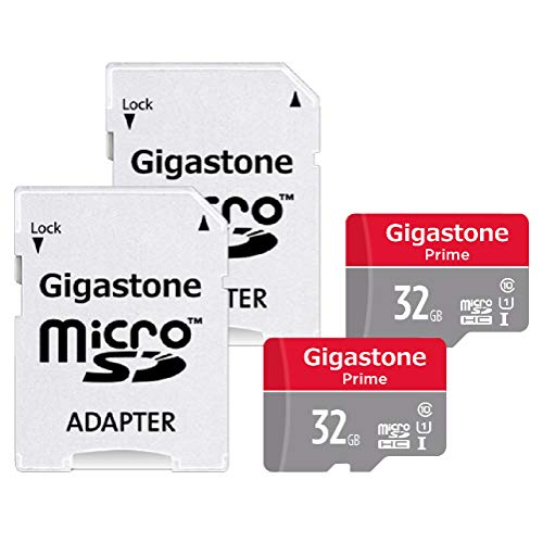 Gigastone 32GB 2-Pack Micro SD Card with Adapter, U1 C10 Class 10, Full HD available, Micro SDHC UHS-I Memory Card