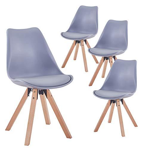 GOLDFAN 4er Set Esszimmerstuhl aus Holz Moderner Küchenstuhl Mit Kissen Wohnzimmerstuhl Holzstuhl für Wohnzimmer Esszimmer Küche, Grau