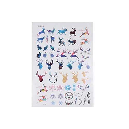 Minkissy 1 Bogen Weihnachten Hirsch Tattoo Sticker Temporary Tattoo Elch Geweih Aufkleber Festival Dekoration für Festival Party