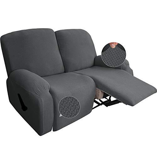 Neueste 6-teilige Strech Recliner Überzug Sessel Husse Relax Fernsehsessel Relaxstuhl Sesselbezug Für Liegestuhlschutz Mit Tasche (Dark Gray)