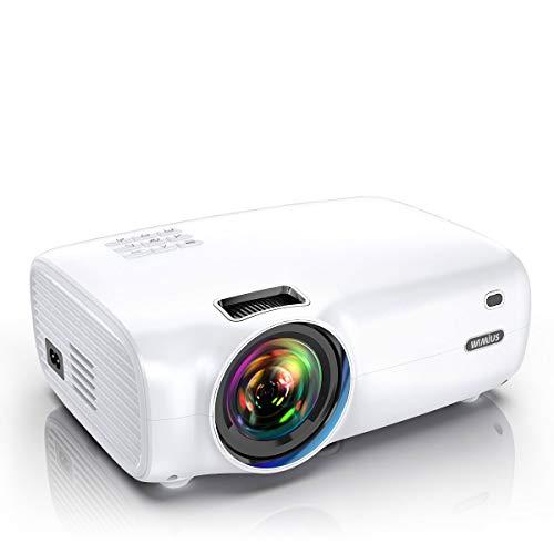 "Proyector, WiMiUS 5000 Lúmenes Proyector Portátil Full HD Soporta 1080P Proyector Cine en casa 720P Nativo con Audio Hi-Fi Pantalla 200 "" Mini Video Proyector LED 60000 Horas HDMI/VGA/AV/ TF/USB"
